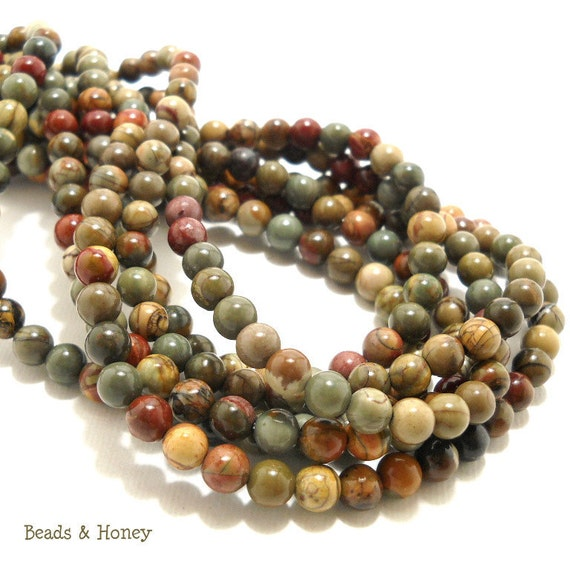 Red Creek Jasper, Natural Gemstone Beads - Multi-Colored, Green/Red/Brown, Round, Smooth, 6mm, Small, Half Strand, 33pcs - ID 679