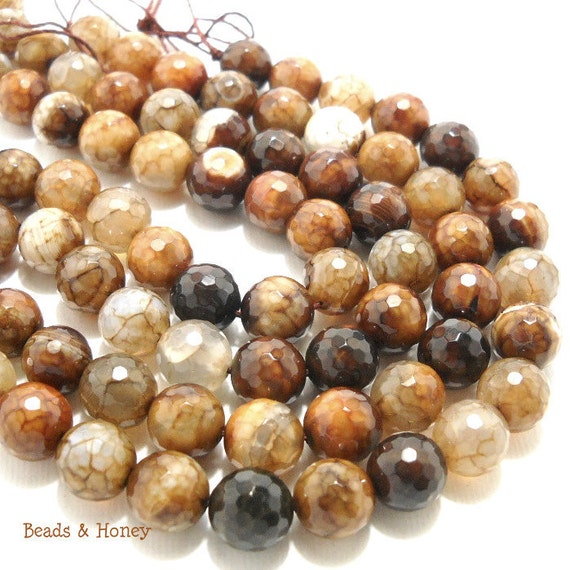 Agate, Brown and White, Fired, Round, Faceted, Gemstone Bead, 10mm, Small, 19pcs, Half Strand  - ID 688