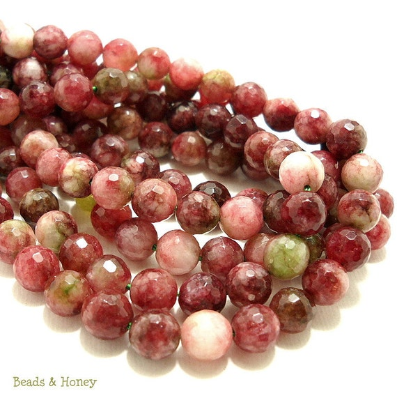 RESERVED: Tourmaline Colored Agate, Gemstone Beads, Red/Green, Round, Faceted, 8mm, Small, 50pcs, Full Strand - ID 743