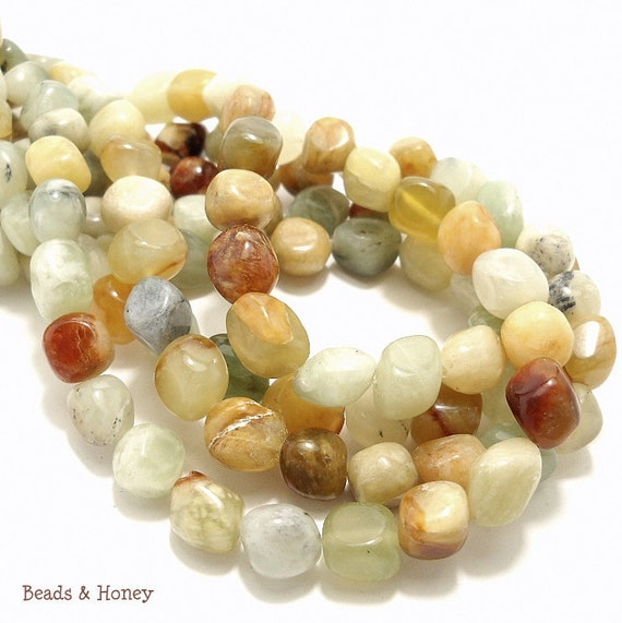 Antique New Jade, Gemstone Beads, Multi Colored, Pebble, Smooth, 8mm, Half-Strand, 22-25pcs - ID 783