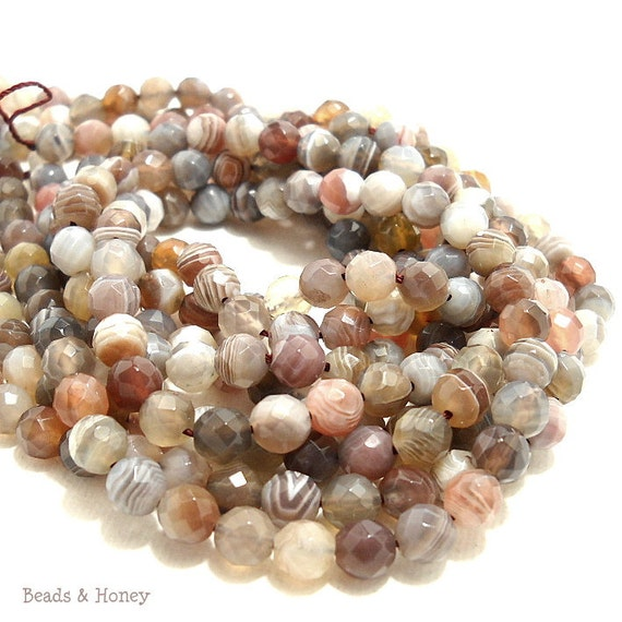 Botswana Agate, Grade A, Gemstone Beads, Natural, Banded, Round, Faceted, 6mm, Full-Strand, 33pcs - ID 731
