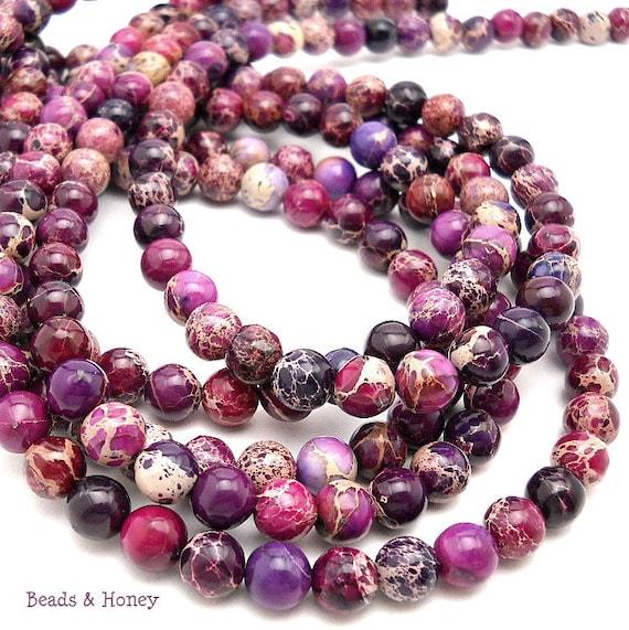 RESERVED: Impression Stone, Purple, Gemstone Beads, Round, Smooth, 8mm, Small, 24-25pcs, Half-Strand - ID 826