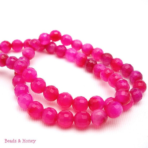 Agate, Hot Pink, Round, Faceted, 6mm, Small, Full Strand, 60pcs - ID 844