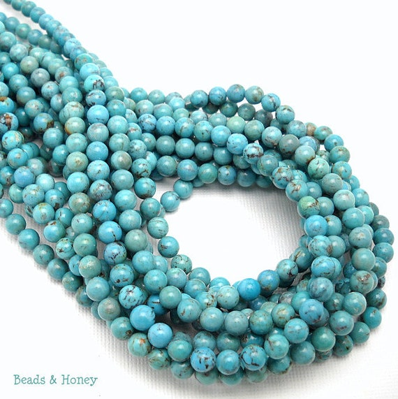 Natural Turquoise, Unstabilized, Blue with Some Matrix, Round, Smooth, 5mm, Small, Gemstone Beads, Half-Strand, 40pcs - ID 852