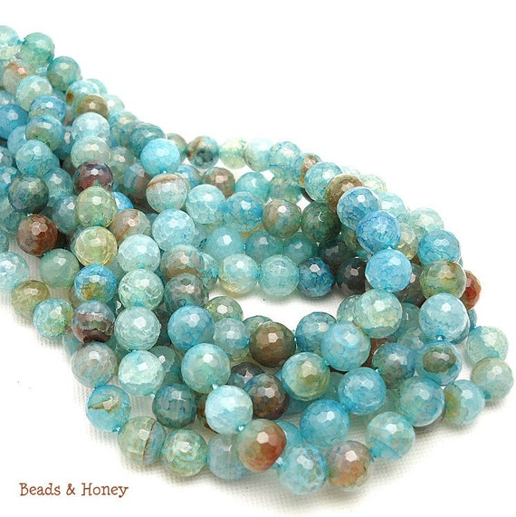 RESERVED: Agate, Fired, Aqua, Light Blue/Brown, Round, Faceted, 8mm, Small, Gemstone Beads, Full Strands (3) - ID 558-6