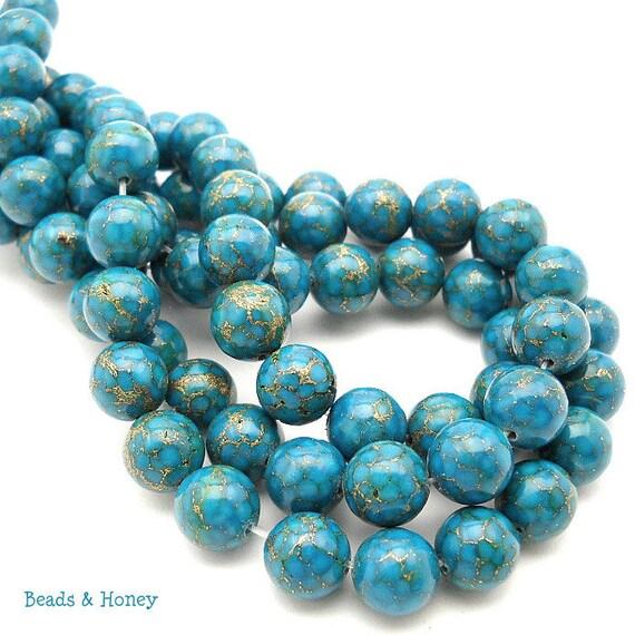 Bronze Infused Mosaic Turquoise, Round, Smooth, 10mm, Gemstone Beads, Half Strand, 20pcs - ID 858