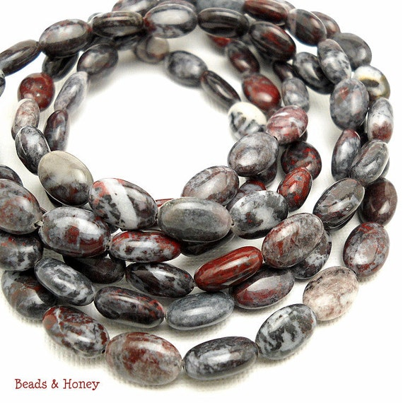 Chinese Bloodstone, Dark Gray, Red, and White, Oval, Puffed, Smooth, Gemstone Beads, 12x8mm, Small, Sold by Half Strand, 17pcs - ID 861