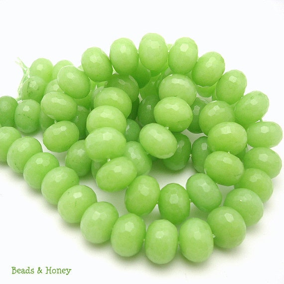 Dyed Jade, Gemstone Beads, Bright Green, Rondelle, Faceted, 14mm, Large, Half Strand, 19pcs - ID 862