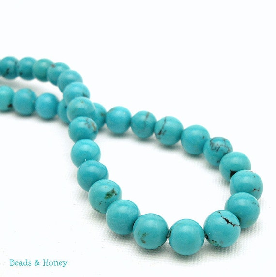 Turquoise, Blue-Green with Low Matrix, Round, Smooth, 8mm, Natural Gemstone Beads, Full Strand, 51pcs - ID 914