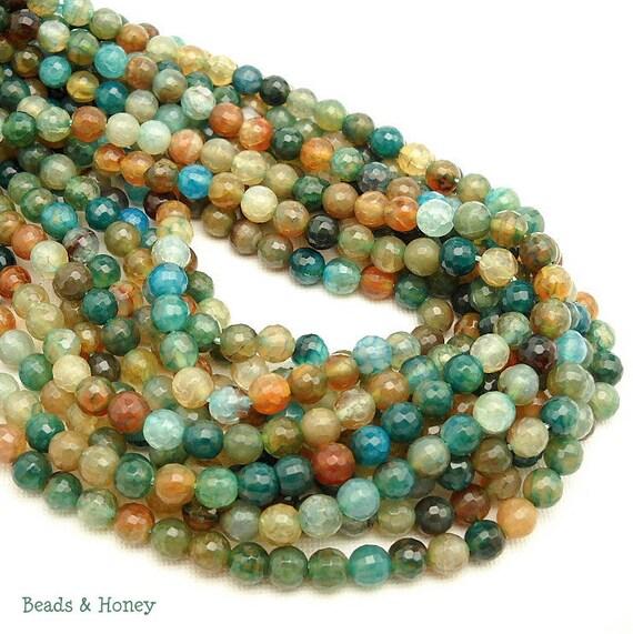 Agate, Fired, Aqua, Gemstone Beads, Blue-Green, Dark, Round, Faceted, 6mm, Small, Full-Strand, 62pcs - ID 584