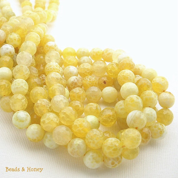 Agate, Yellow and White, Fired, Antiqued, Round, Faceted, Gemstone Beads, 8mm, Small, Half Strand, 23-24pcs - ID 938
