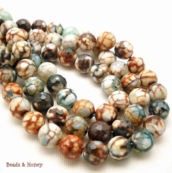 Agate, Brown, White and Teal, Fired, Round, Faceted, Gemstone Bead, 10mm, 18pcs, Half Strand - ID 961