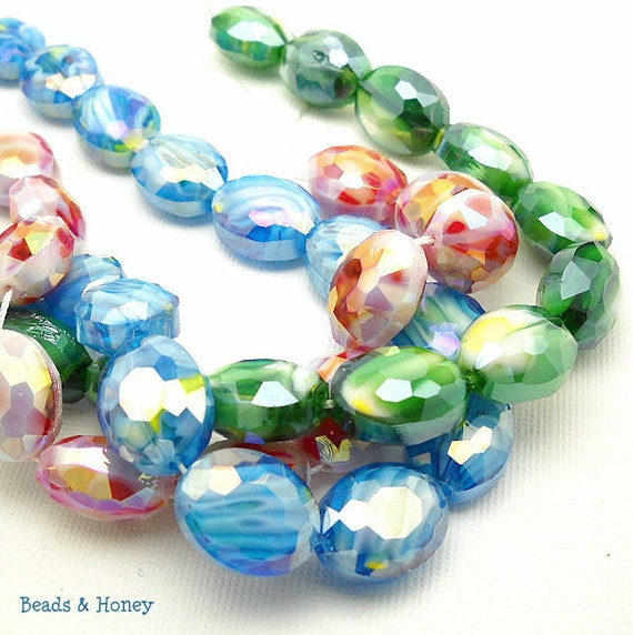 Crystal Beads, Mixed Set, 3 Colors, Red, Green, Blue, AB, Sparkly, Oval, Faceted, 13x16mm, Large, 6pcs of Each Color  - ID 996, 997, 998
