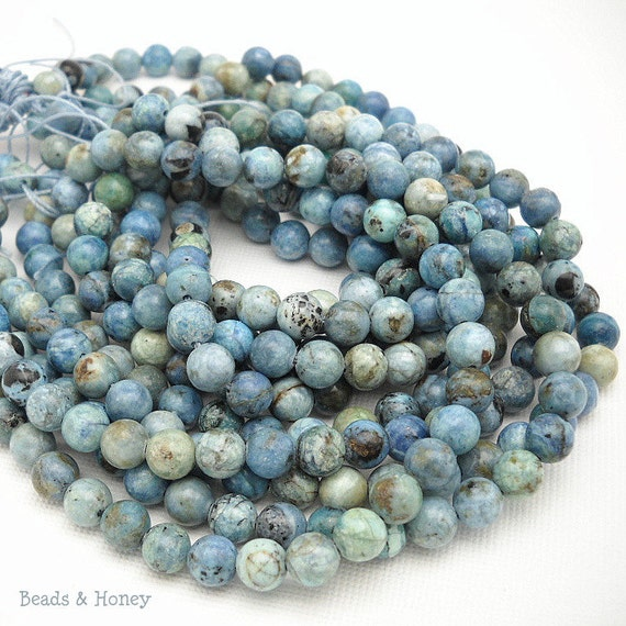 African Blue Opal, Round, Smooth, Gemstone Beads, 6mm, Small, Half Strand, 30-32pcs - ID 1028