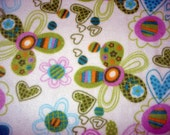 Flower/Heart Adult No Sew Fleece Blanket.  Shipping Incld.