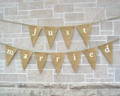 Just Married Banner / Burlap Banner / Wedding Banner / Reception decoration / Shower / Rustic / Photo Prop