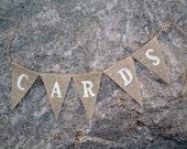 Card banner - Card box - Burlap Banner -  Cards sign - Cards - wedding sign