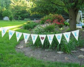 Wedding Banner - Sweet Love banner -  Custom wedding banner - wedding sign - wedding decor