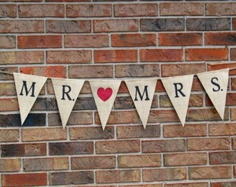 Wedding Banner..... Mr. Loves Mrs.... Burlap Banner