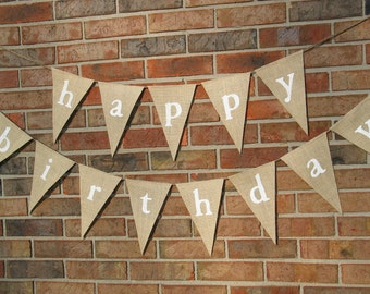Happy Birthday Banner  /  Burlap Banner  /  Party Decoration  /  Birthday Banner /  Happy Birthday