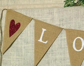 Love Banner  ...  Engagement Banner  ....  Burlap Banner ..  Wedding ...   banner