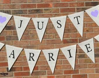 Just Married  ..   burlap ... banner  ...  hearts ...  wedding banner