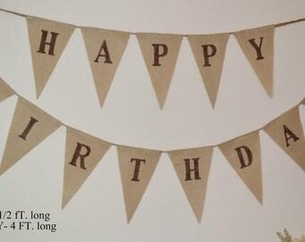 Happy Birthday ... Birthday Banner ... Burlap Banner ... Party Decoration...Celebration ... First Birthday