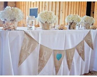Mr. loves Mrs. burlap banner ... Wedding Banner  .... Anniversary Banner ... Sweetheart table  Mr and Mrs .. Mr & Mrs