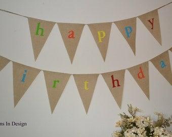 Happy Birthday Banner  ...  Burlap Banner ...  Party Decoration  ...  Birthday Banner