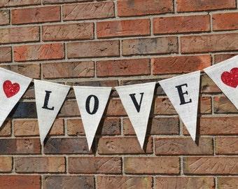 Love Banner - Burlap Banner / Wedding Banner / Engagement / Shower Decoration / Wedding