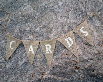Card banner - Card box - Burlap Banner -  Cards sign - Cards - wedding sign