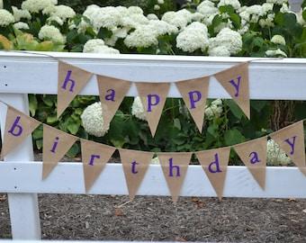 Happy Birthday ...  banner ....  Burlap  ....  Happy Birthday Banner  ...   lowercase   Birthday banner