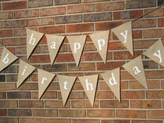 Happy Birthday Banner  /  Burlap Banner  /  Party Decoration  /  Birthday Banner /  Happy Birthday