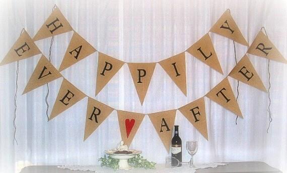 Happily Ever After Wedding Banner  ...  Burlap Banner  ... Celebration ... Wedding Banner ... Just married