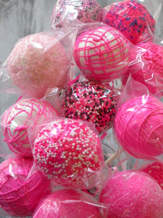 Hot Pink Cake Pops made with homemade devils food cake (12)