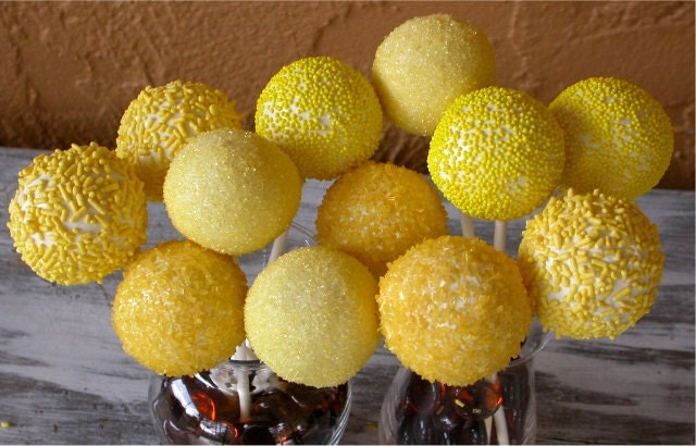 Lemon Yellow Sunshine Cake Pops made with by IDoDivineDesigns