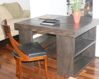 5 foot desk / Great DESK on bookshelves. Solid wood desk