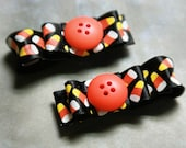 Set of 2 halloween candy corn button hair clippies - part of fall promo