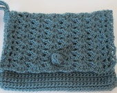 Teal Blue Clutch Crocheted in Wool and Tencel