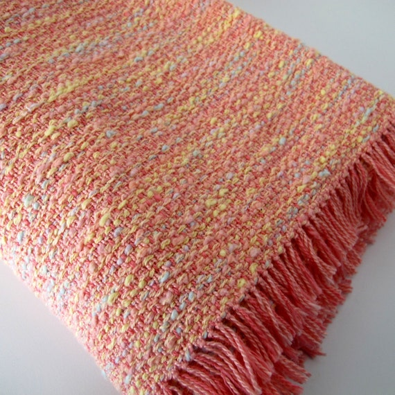 Hand Woven Baby Blanket  in Peach and Tangerine