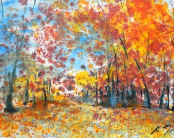 Batik Style/New England Fall-Scape L-No.1, limited edition of 50 fine art giclee prints