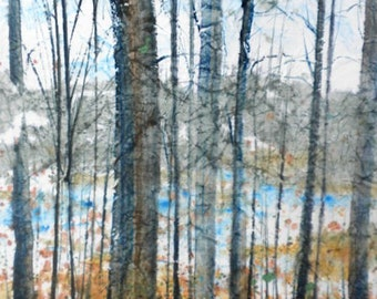 Batik Style/New England Fall-Scape L-No.3, limited edition of 50 fine art giclee prints