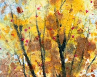 Batik Style/New England Fall-Scape M-No.6, limited edition of 50 fine art giclee prints from my original watercolor
