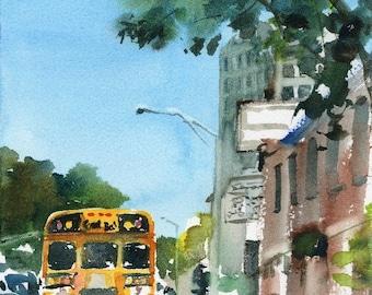 Worcester Sketchbook Park ave School Bus, limited edition of 50 fine art giclee prints