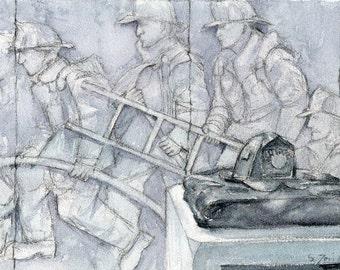 Worcester Sketchbook Fireman's memorial, limited edition of 50 fine art giclee prints