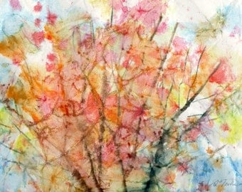 Batik Style No.20/New England Fall-Scape, limited edition of 50 fine art giclee prints from my original watercolor
