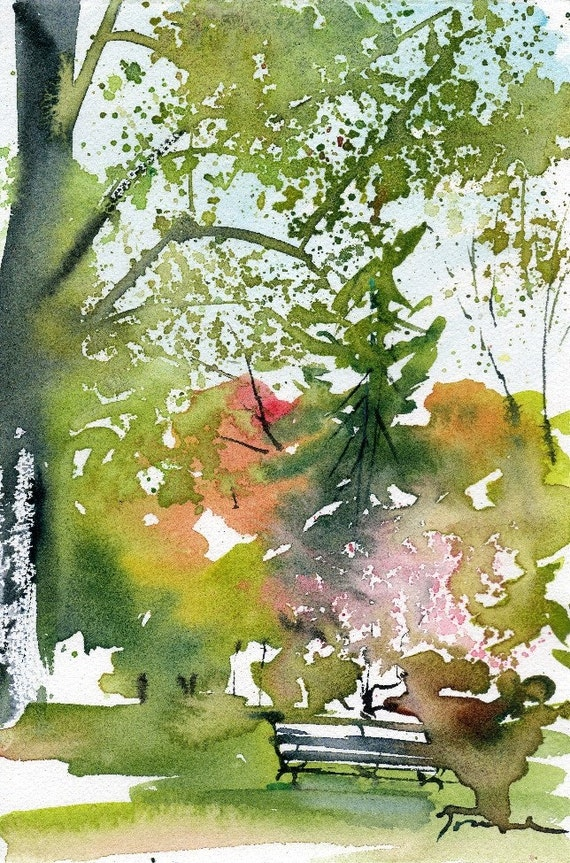 Worcester Sketchbook Bench with Cherry Blossom, limited edition of 50 fine art giclee prints