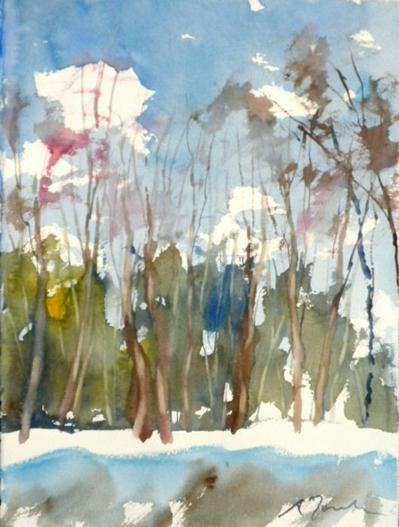 New England Winter-Scape No.56, original watercolor