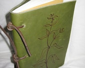 Hand made soft bound Leather Journal, Vintage Inspired, in Green Leather with artfully burnt in design accents