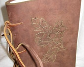 Hand made soft bound Leather Journal, Vintage Inspired, in  dark brown Leather with artfully burnt embellishment